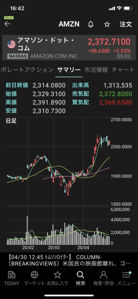 楽天証券アプリiSPEEDのチャート画面