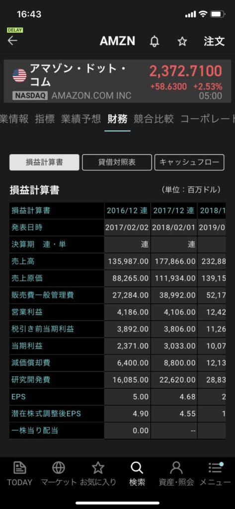 楽天証券アプリiSPEEDの財務の画面